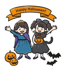 ハロウィンの仮装をした女の子2人のイラスト