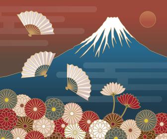 富士山、菊の花、扇の和風模様