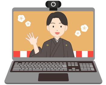 オンライン成人式 ノートパソコン 男性(線無