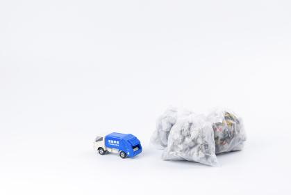 ごみ袋 ごみ収集車 リサイクル ごみの日イメージ