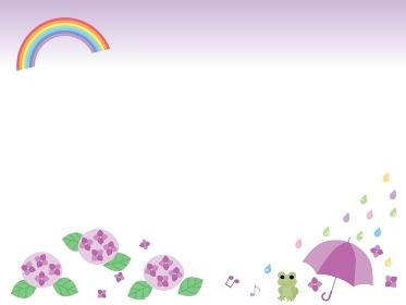 梅雨の紫陽花と虹と傘と蛙のフレーム