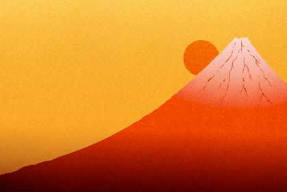 赤色に輝く富士山と日の出のイラスト