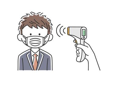 赤外線温度計で検温される日本人ビジネスマンのイラスト
