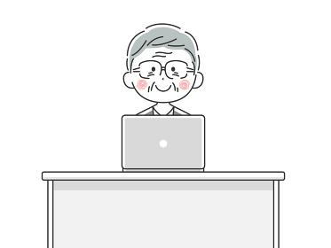 ノートパソコンで仕事をする年配の日本人ビジネスマンのイラスト