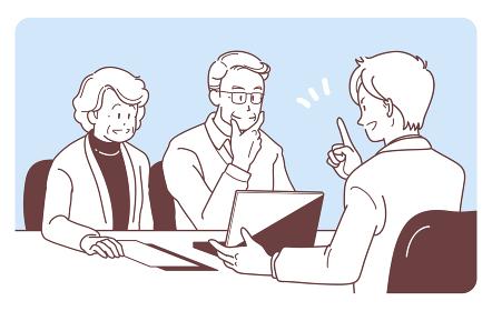 商談する高齢の夫婦とビジネスマンのイラスト