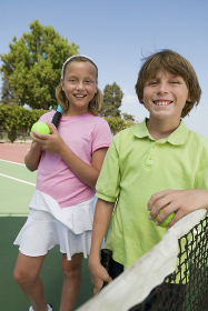 Brother and Sister at Tennis Net portrait