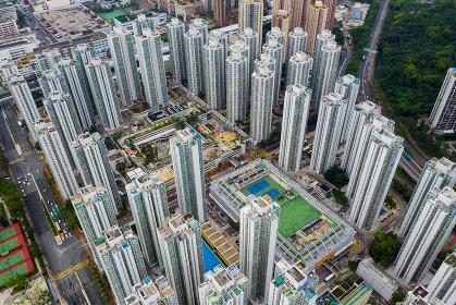 Sha Tin, Hong Kong 04 May 2019: Top down view of Hong Kong residential district