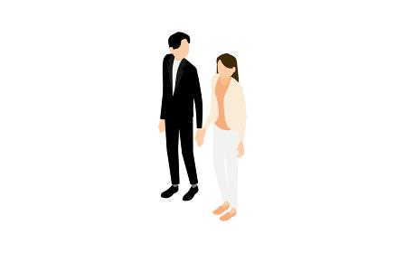 アイソメトリック、手を繋いで歩く男女
