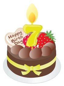 お誕生日のチョコレートケーキと7歳の数字のキャンドル