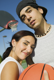 Couple at Basketball Court.