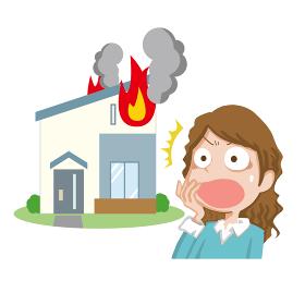 火事に驚く女性