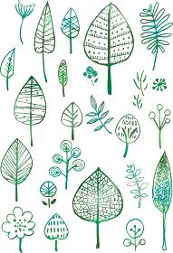 北欧風:木 手書き 線画 葉 葉っぱ 緑 イラスト アイコン グラデーション 水彩 ナチュラル