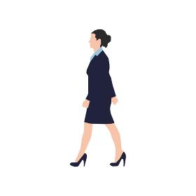 歩いている人物・歩行者 全身(横向き)シルエットイラスト/ 女性会社員