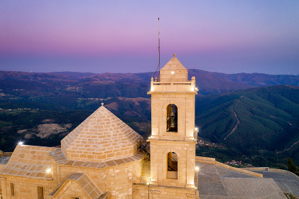Senhora da Graca church drone aerial view in Mondim de Basto, Portugal