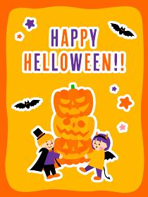 かぼちゃを運ぶこどもたちのハロウィンイラスト(縦長)