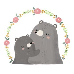 ハグしあっている親子のクマと花のフレーム、手描きイラスト