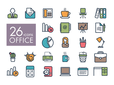 Outline web icon set - Office