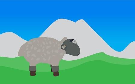 Lamb Walks, Eats the Grass. Vector EPS10.. Lamb Walks, Eats the Grass.