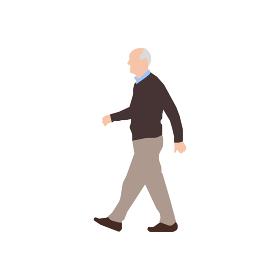 歩いている人物・歩行者 全身(横向き)シルエットイラスト/ お爺さん・高齢の男性
