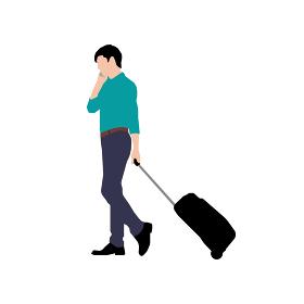 歩いている人物・歩行者 全身(横向き)シルエットイラスト/ 若い男性