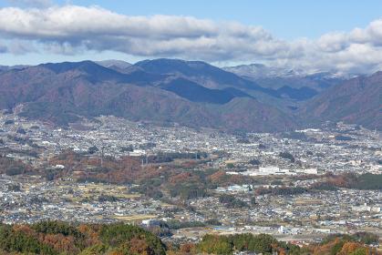 長野県飯田市 神之峰城跡から見た飯田の風景