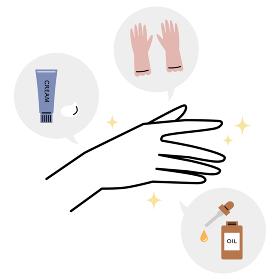 ケアされた綺麗な手/ハンドクリーム、ゴム手袋、美容オイル