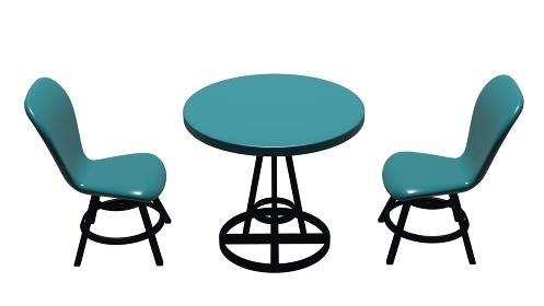 緑色のテーブルと椅子 3DCGインテリア