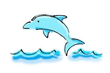 手描きイラスト素材 いるか イルカ ジャンプ 海 波