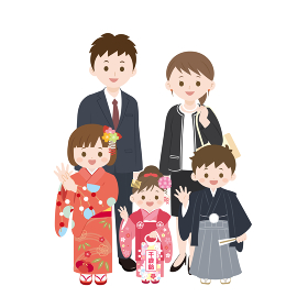 七五三 かわいい家族のイラスト