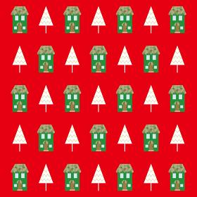 家とクリスマスツリーのパターンのイラスト