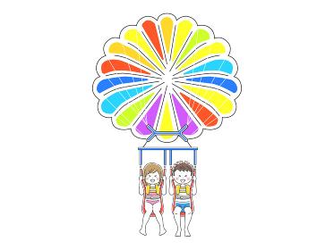 パラセーリングをするカップルのイラスト