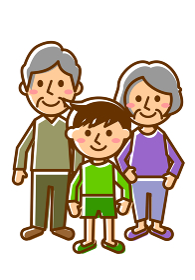 祖父母 3人 男の子 全身