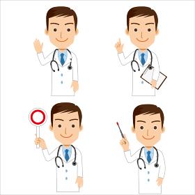 男性医師のイラスト 4点 イラストセット バストアップ 3等身 白衣 指示棒 マルバツ棒