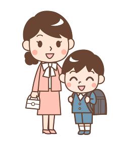 入学式の息子と母親