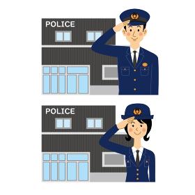 交番と敬礼する警察官
