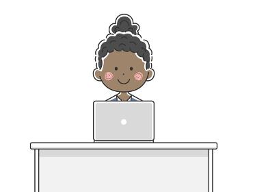 ノートパソコンで仕事をする黒人ビジネスウーマンのイラスト
