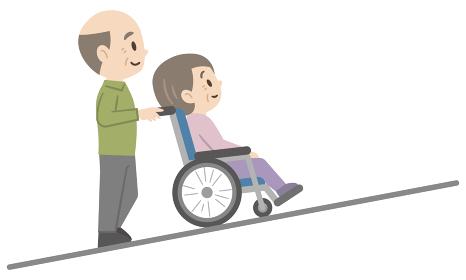 車椅子介助のイラストレーション