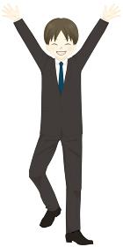 スーツを着た男性 バンザイ 喜ぶ