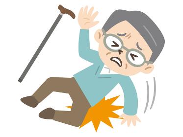 転倒して怪我をしたシニア男性