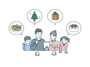 クリスマスの買い物を決める家族 通販 タブレット イラスト素材