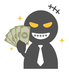 犯罪者・悪人・詐欺師 シルエット人物イラスト