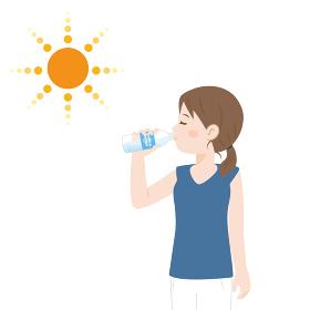 水を飲む女性 水分補給するイラスト