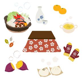 こたつと冬の暖かい食べ物