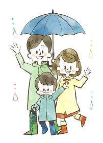 雨の日の3人家族 水彩