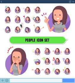 flat type Long hair women_icon