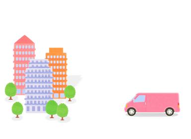 ピンクのトラックとビル