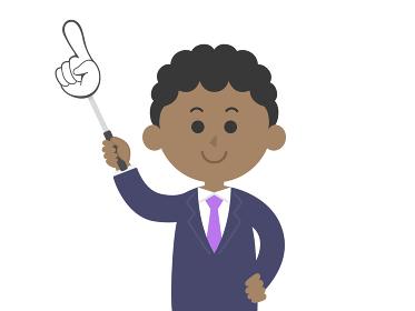 指し棒で解説する黒人男性のイラスト