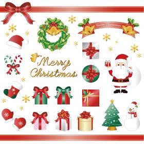 クリスマス サンタクロースとプレゼント イラスト素材セット