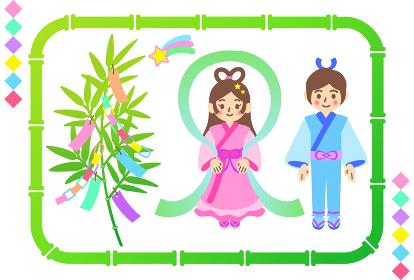 七夕の笹飾りと織姫と彦星のイラストセット