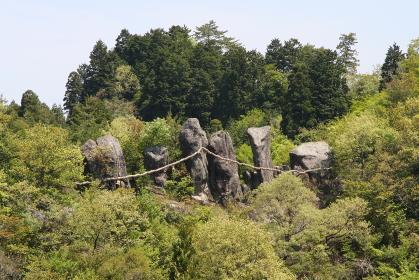 台風による倒木が元で姿を現した、大分県玖珠町の東奥山七福神